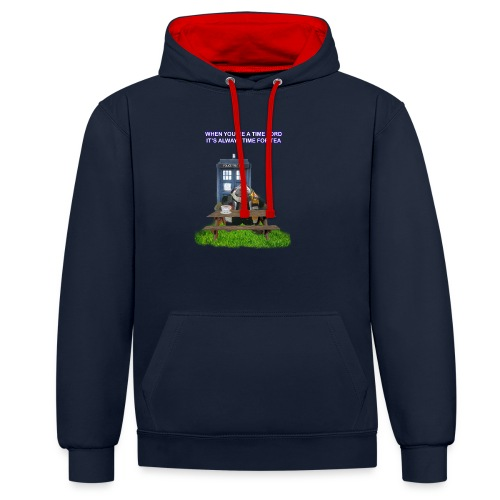TIME AND SPACE AND TEA - Contrast Colour Hoodie