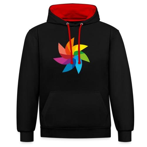 bunte Windmühle Kinderspielzeug Regenbogen Sommer - Contrast Colour Hoodie