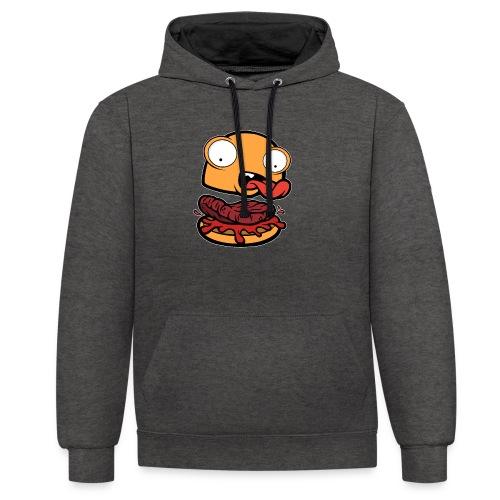 Crazy Burger - Sudadera con capucha en contraste