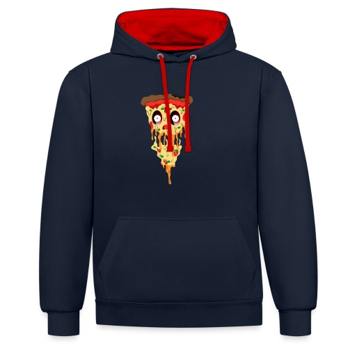 Schockierte Horror Pizza - Kontrast-Hoodie