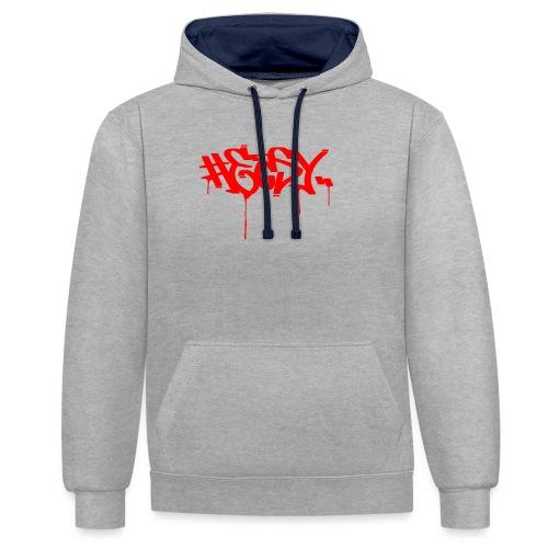 #EASY Graffiti Logo T-Shirt - Felpa con cappuccio bicromatica