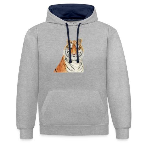 Tigre,Tiger,Wildlife,Natura,Felino - Felpa con cappuccio bicromatica