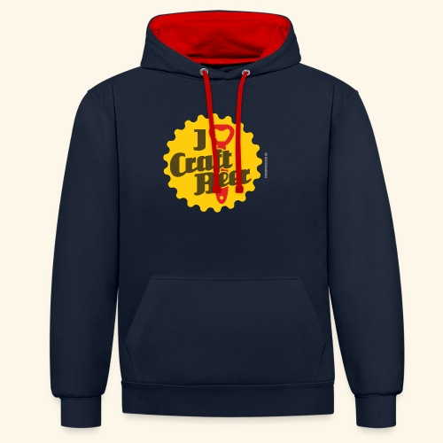 Craft Beer T-Shirt Design I Love Craft Beer - Kontrast-Hoodie