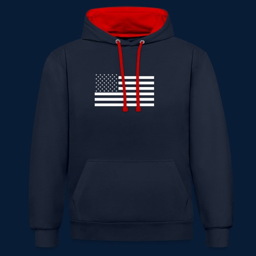 Stars and Stripes White - Kontrast-Hoodie