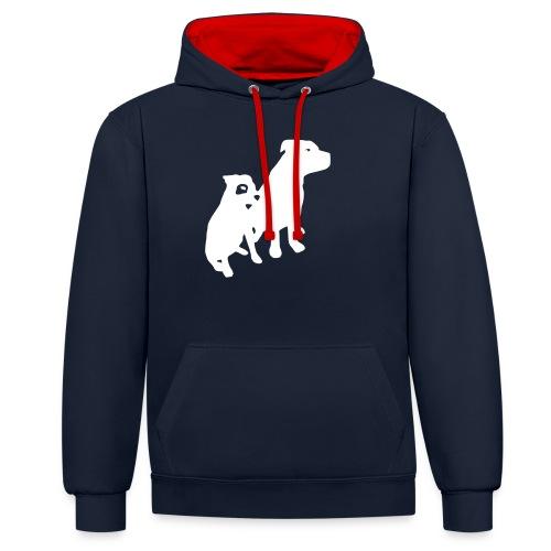 Doggy / zwei brave Hunde zum verschenken - Kontrast-Hoodie