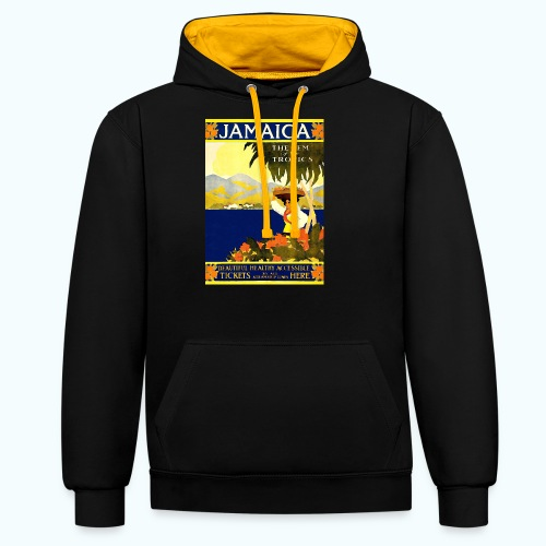 Jamaica Vintage Travel Poster - Contrast Colour Hoodie