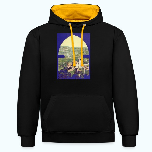 Tuscany vintage travel poster - Contrast Colour Hoodie