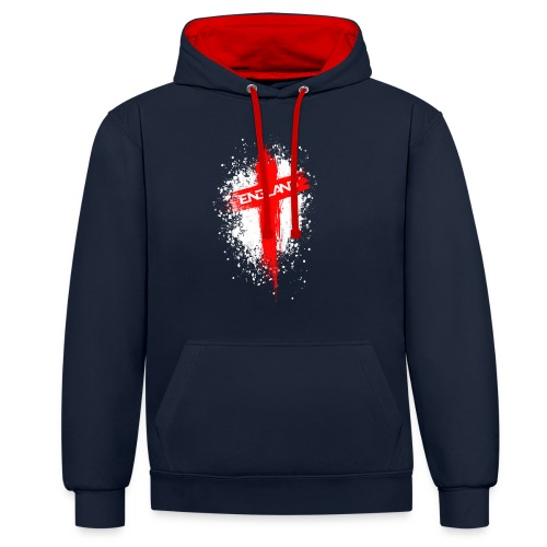 England Painted-Red - Contrast Colour Hoodie
