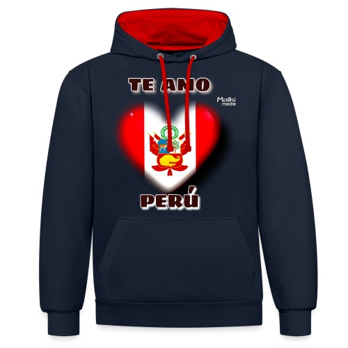 Te Amo Peru Corazon - Contrast Colour Hoodie