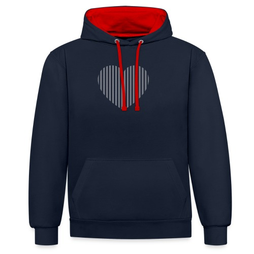 heart_striped.png - Contrast Colour Hoodie