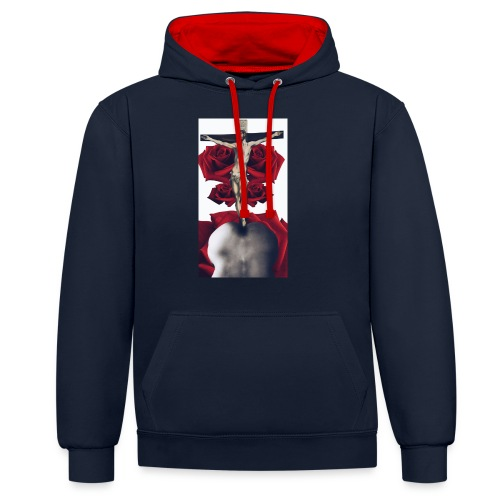 He raised from the bottom - Sudadera con capucha en contraste