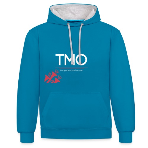 TMO official logo white - Contrast Colour Hoodie