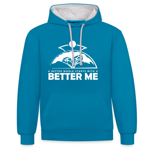 Better Me - White - Contrast Colour Hoodie