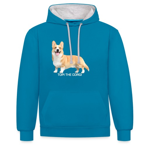 Topi the Corgi - White text - Contrast Colour Hoodie