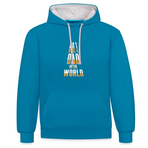 No. 1 Dad in the World - Contrast Colour Hoodie