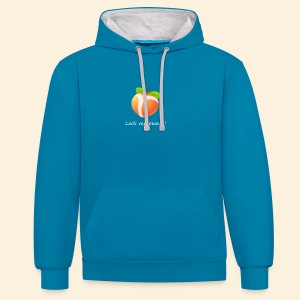 Look my peach in white - Contrast Colour Hoodie
