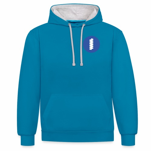 logomark in circular blue - Contrast Colour Hoodie