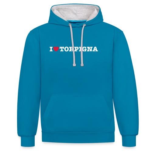 I Love TorPigna - Felpa con cappuccio bicromatica