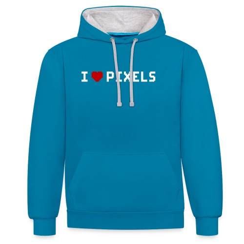 I Love Pixels - Kontrast-hættetrøje