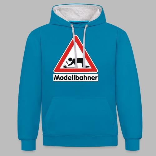 Warnschild Modellbahner E Lok - Kontrast-Hoodie