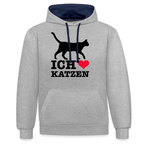 Ich liebe Katzen mit Katzen-Silhouette - Kontrast-Hoodie
