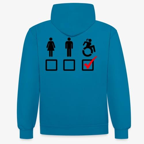 Rolstoel bord, rollers fun, vink rolstoel, humor - Contrast hoodie