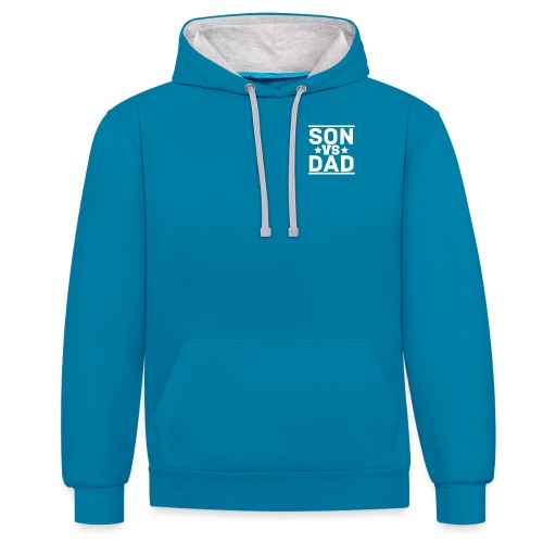 son vs dad logo pink - Contrast Colour Hoodie