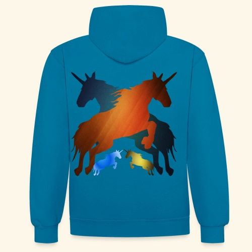 Unicorns 4 lucky mane fairy tale unicorns leaping - Contrast Colour Hoodie