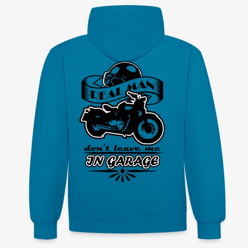 biker style - Felpa con cappuccio bicromatica