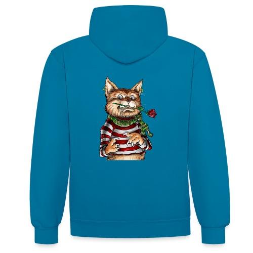 T-shirt - Crazy Cat - Sweat-shirt contraste