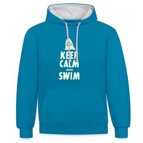 keep calm a swim - Kontrast-Hoodie