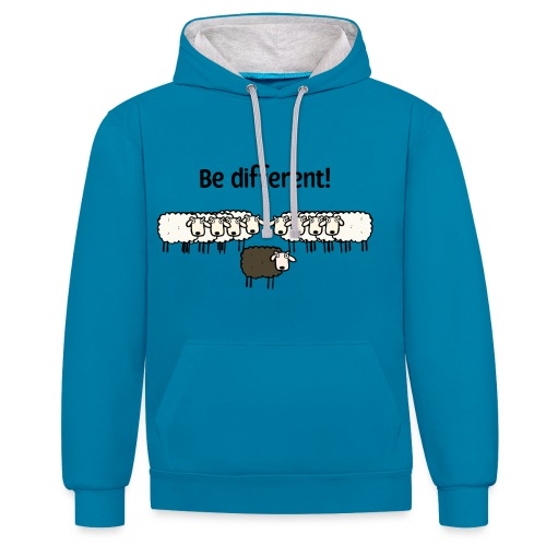 Be different - Kontrast-Hoodie