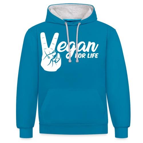 Vegano per la vita - Felpa con cappuccio bicromatica