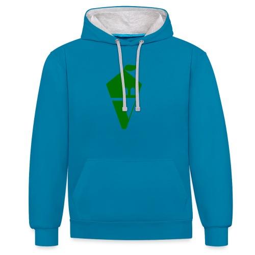 Villekula Logo in Grün auf Schwarz - Kontrast-Hoodie