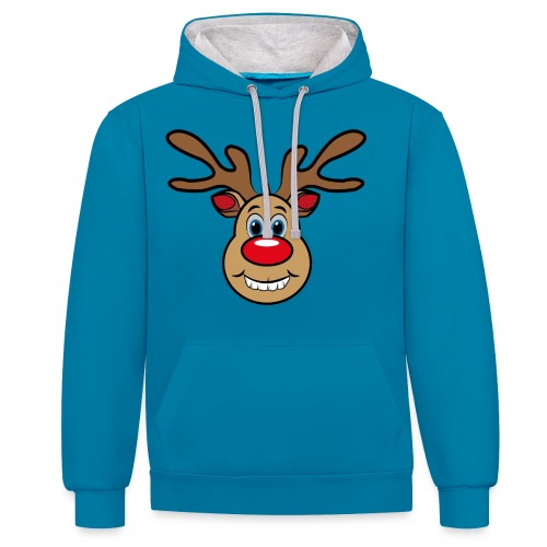 Ugly Christmas Weihnachten Xmas Rudi Reindeer - Kontrast-Hoodie