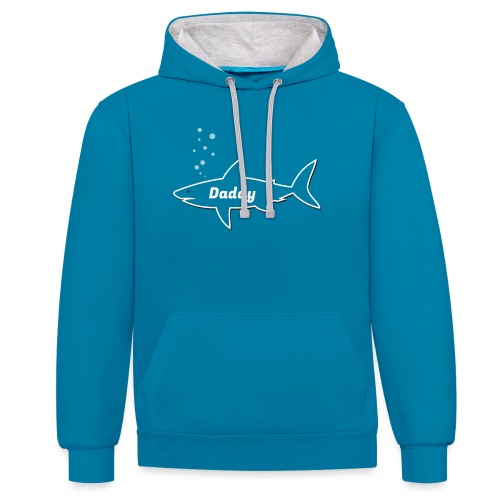 Daddy shark - matching outfit fathersday gift - Kontrast-Hoodie