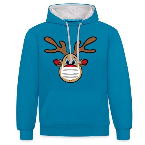 Ugly Xmas Rudi Reindeer mit Maske - Kontrast-Hoodie