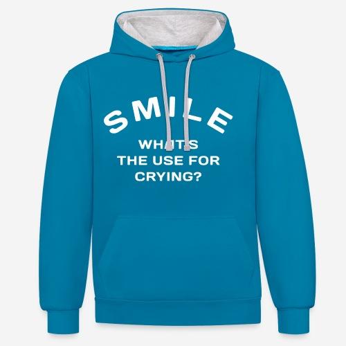 Lächeln glücklich weinen - Kontrast-Hoodie