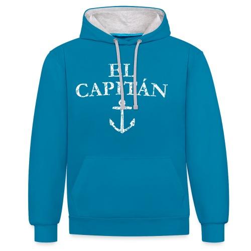 El Capitan Anker (Vintage Weiß) Kapitän Käpt'n - Kontrast-Hoodie