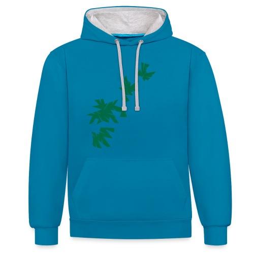Green Leaves - Kontrast-Hoodie