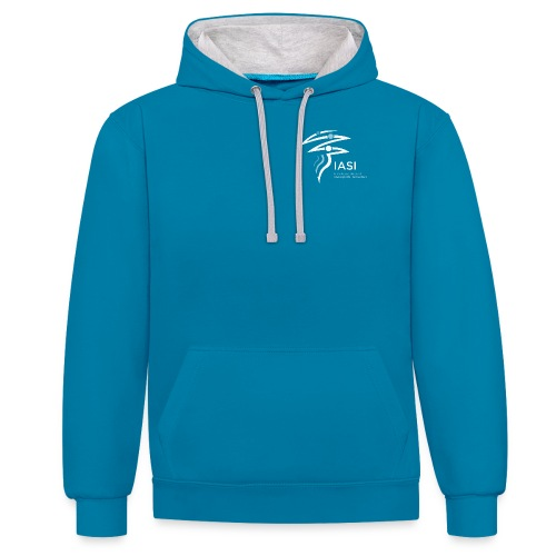 skiers-with-text - Contrast Colour Hoodie