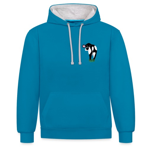 Quirky Cows Rear view - Contrast Colour Hoodie