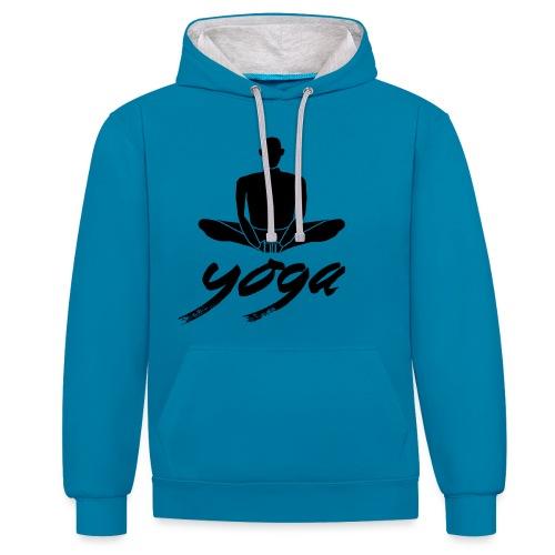 yoga nero yogi namaste pace amore arte hippie - Felpa con cappuccio bicromatica