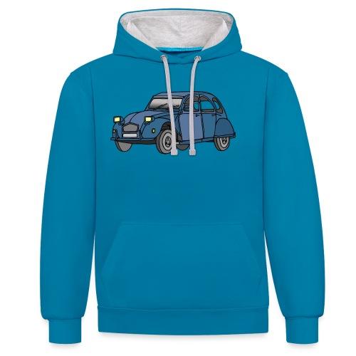 Blaue Ente 2CV - Kontrast-Hoodie