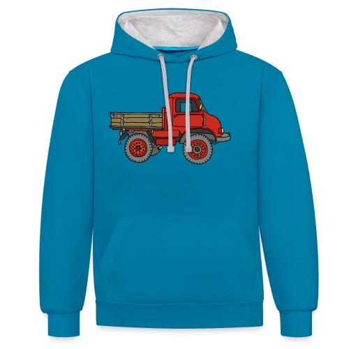 Roter Lastwagen, LKW, Laster - Kontrast-Hoodie