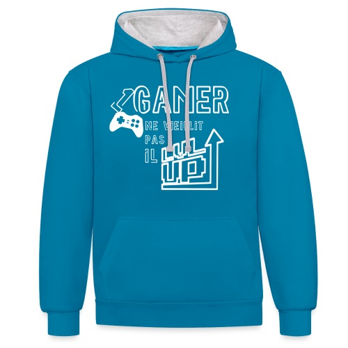 Gameur Manette Blanc - Sweat-shirt contraste