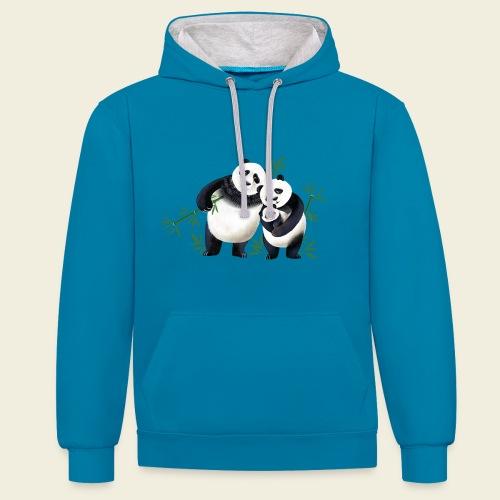 Pandafamilie Baby - Kontrast-Hoodie