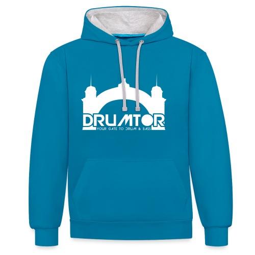 drumtor logo frei bw - Kontrast-Hoodie