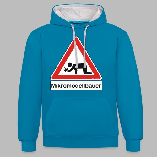 Warnschild Mikromodellbauer Auto - Kontrast-Hoodie