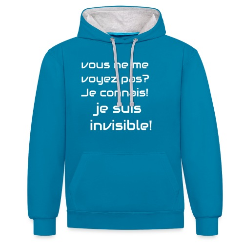Invisibile #invisibile - Felpa con cappuccio bicromatica